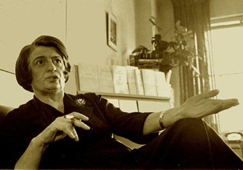 Ayn Rand having a cigarette while collecting Medicare for lung cancer